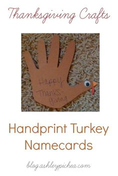 Handprint Turkeys - Thanksgiving Place Cards
