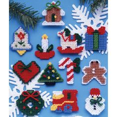 "Country Christmas Ornaments Plastic Canvas Kit-2"""" 7 Count Set Of 12"