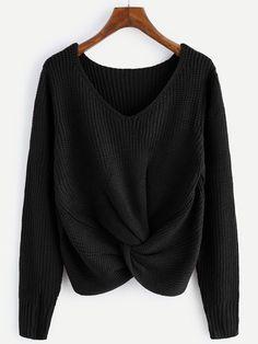 Shop V-neckline Twist Front Sweater online. SheIn offers V-neckline Twist Front Sweater & more to fit your fashionable needs.