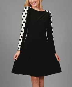 Look at this Aster Black & White Polka Dot-Accent Shift Dress on #zulily today!
