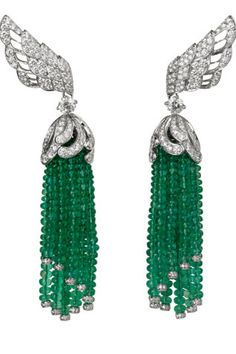 Earrings, Platinum, emerald balls, shiny / Vincent Wulveryck-for - Cartier -2010