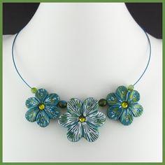 2 Good Claymates: Floral Batik Necklace
