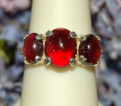 Outstanding 3 Gem Cherry Red Garnet Ring Size by WindstoneDesigns, $54.95