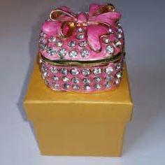 Swarovski Crystal Bejeweled Enamel Hinged Trinket Box - Pink Box with Bow - New • $23.95 - PicClick