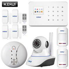 Android IOS App Wireless GSM Home Alarm System SIM Smart Home Burglar Security wifi IP HD camera Alarm System Kit PIR Sensor