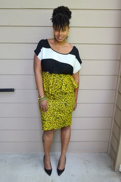 Outfit: Dear Curves African print peplum skirt + Pattern Mixing. Modern designs in African prints for the plus-sized woman!