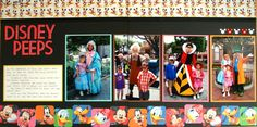 Disney Scrapbook Layouts. I like the the staggered bottom border.
