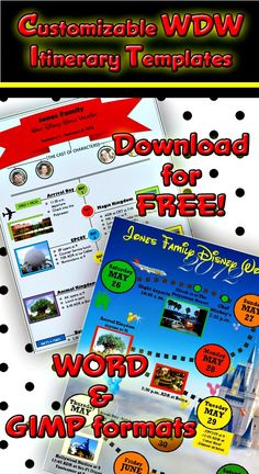 WDW itinerary templates - free & printable