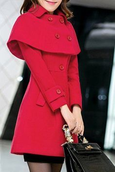 Elegant Turn-Down Collar Long Sleeves Cape Coat For Women