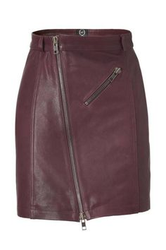 Alexander McQueen Zip Leather Pencil Skirt, Oxblood Fall 2012 Trend - Oxblood Clothing, Accessories, Shoes - ELLE