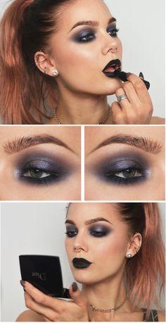 purple smokey eyes + lips dark