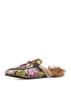 X34NA Gucci Princetown Jacquard Fur-Lined Mule, Multi
