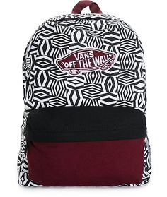 backpacks A black and white geo print cotton canvas body is accented with a Vans Off The Wall logo patch and colorblock front pouch pocket for a dimensional look perfect for storing all you Backpack Purse, Black Backpack, Cute Backpacks, School Backpacks, Vans Rucksack, Hurley, Donut Logo, Vans Bags, Hollister