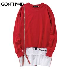 46c60ddda8 Buy GONTHWID Front Long Zipper Back Ribbon Hoodies Hip Hop Patchwork  Extended Pullover Sweatshirts Fashion Double Layer Streetwear
