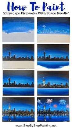 How To Paint City Skyline With Space Needle - Step By Step Painting This step by step beginner painting tutorial will guide you through the steps on how to paint a skyline with a glowing blue sky and fireworks. Cute Canvas Paintings, Canvas Painting Tutorials, Easy Canvas Painting, Simple Acrylic Paintings, Diy Canvas Art, Painting Techniques, Watercolor Tutorials, Watercolor Tips, Acrylic Canvas