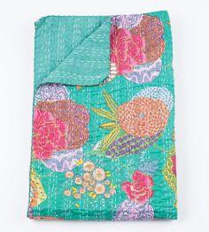 Königin Quilt oder Decke in türkis grün Floral von gypsya auf Etsy, $108.00