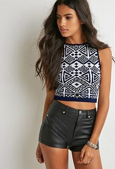 Buy it now. FOREVER21 Women's  White & Navy Geo-Patterned Crop Top. You'll be turning heads all day long in this sleeveless crop top. It features an eclectic geo pattern with contrast trim. Pair it with a contrasting pattern for the ultimate bold look. Stretch knit81% rayon, 16% polyester, 3% spandex15%22 full length, 28%22 chest, 26%22 waistMeasured from SmallHand wash coldMade in USA , topcorto, croptops, croptops, croptop, topcrop, topscrops, cropped, bailarina, topbailarina, corto…