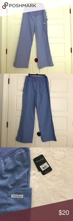 Cherokee Maternity Scrub Pants NWT Ceil blue full belly maternity scrub pants. Bought these as a medium on here and fit like a large (that's why I'm posting the size as a large) the reviews on these pants say they run big. They have a wide leg bottom. Asking what I paid for them. Cherokee Pants