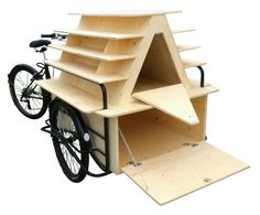 Display stand or Newsstand on Tricycle Cargo Bike for Itinerant Sale of many goods, such as jewelery, perfumes, glasses, etc. Mobile Kiosk, Mobile Shop, Food Box, Coffee Carts, Coffee Shop, Bike Cart, Bike Food, Velo Cargo, Mobile Boutique