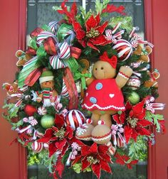 Christmas Wreath Door Gingerbread Peppermint a little too much on the decor for me but for inspiration...