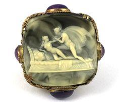 Rare Antique Cameo Ring Apollo Daphne 14k Gold Amethyst Cabochons. Please like http://www.facebook.com/RagDollMagazine and follow @RagDollMagBlog @priscillacita