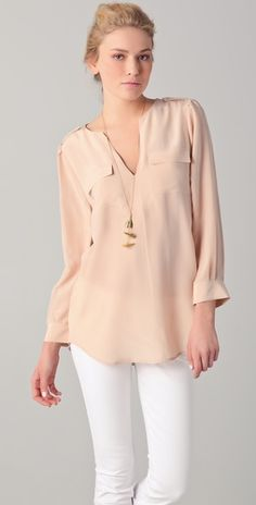 blush tunic and white jeans