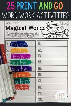This resource includes 25 fun and engaging print and go word work activities that are ideal for first grade, second grade, or third grade students! Both word work and spelling activities/games are included, which are perfect to use for literacy stations or small groups. #annbrantleysteachingresources #wordwork #spelling #firstgrade Spelling Word Practice, Word Work Games, Spelling Centers, Word Work Stations, Spelling Games, Word Work Activities, Spelling Activities, Literacy Stations, Spelling Words