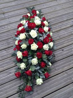 Red and white rose casket spray red and white rose coffin spray Red Bouquet Wedding, Red Wedding Flowers, Funeral Flowers, Bridesmaid Flowers, Funeral Floral Arrangements, Flower Arrangements, Casket Flowers, Funeral Caskets, Funeral Sprays