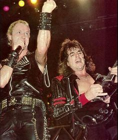 Rob Halford and Glenn Tipton-Judas Priest. Judas Priest, Rob Halford, Defender Of The Faith, Famous Musicians, Recorder Music, The New Wave, Soundtrack To My Life, Heavy Metal Bands, Black Sabbath