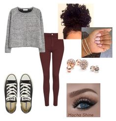 """""""Winter outfit"""" by babycalii ❤ liked on Polyvore featuring Topshop, MANGO, Converse and GUESS"""
