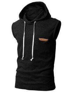 H2H Mens Sleeveless Fashion Hoodies with Pocket BLACK Asia M (JPSK13 KMT11)  Moletom d5be3a45d85