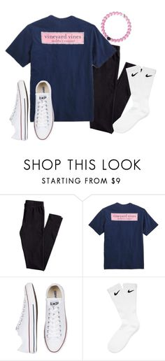 """so basic"" by so-preppy ❤ liked on Polyvore featuring H&M, Vineyard Vines, Converse and NIKE"