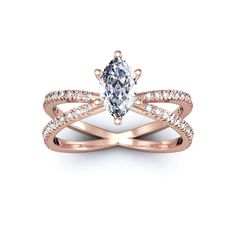 1.25ct Marquise Split Band Engagement Ring Crafted In 14K Rose Gold