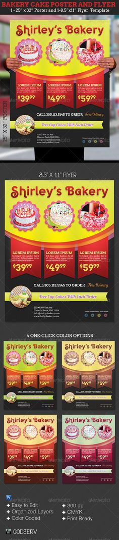 #Bakery Cake Flyer Poster Template - Commerce #Flyers Download here: https://graphicriver.net/item/bakery-cake-flyer-poster-template/6212148?ref=alena994