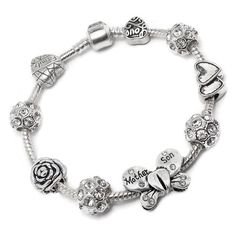 Mother Son Butterfly Charm Bracelet Pandora Style Gift Boxed 20cm