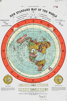 "Flat Earth Map - Gleason's New Standard Map Of The World - Large 24"" x 36"" High Quality Poster - Offer Includes FREE eBook - Zetetic Astronomy by Samuel Rowbotham Kamyko http://www.amazon.com/dp/B018EQ71T4/ref=cm_sw_r_pi_dp_q6sCwb10T1HQ9"