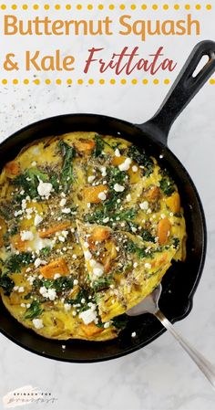 Butternut Squash and Kale Frittata -- a super healthy and easy way to start your day! The perfect meal prep healthy breakfast (or lunch or dinner!), all you have to do is slice, heat, and serve. This recipe is seriously the best, so delish and easy to make. Plus, it's gluten free, choc full of vegetables, and dairy free optional! Looking for some sausage or other meat? Feel free to add it in too. Enjoy! :)