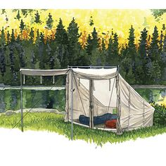 """A distinctive and classic """"baker style"""" canvas tent. Generously sized at two and four person models, there's extra space under the awning and inside the end cover. Add a woodstove for three and four season camping."""