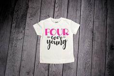 25ffe318c 4 Year Old Birthday Girl, 4th Birthday Girl, 4 ever Young, 4 year old  birthday shirt, Girls 4th Birthday, Fourever Young, 4th Birthday Shirt