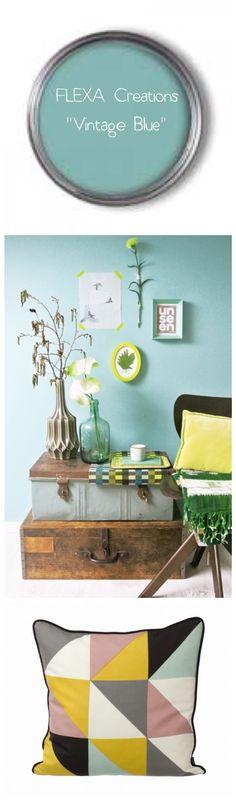 Vintage Blue - FLEXA. for the bedroom wall behind the bed Voor meer inspiratie…