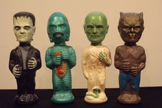 """During the 1960s, Colgate Palmolive sold liquid bubble bath in plastic containers shaped like popular cartoon characters. Colgate called the product a """"Soaky,"""" as indicated on the bottom of each 11-ounce container. In 1963, they created Universal Monsters versions including Frankenstein, the Creature From the Black Lagoon, the Wolf Man and the Mummy.  Why they didn't produce a Dracula is kind of a mystery. Soaky bubble bath not only frightened children but also kept them clean."""