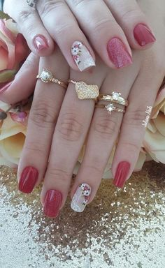 ideas for nails art flores glitter Pink Acrylics, Acrylic Nails, French Tip Nails, Super Nails, Cover Pics, Gold Glitter, Glitter Nails, Nail Tools, Hair Health