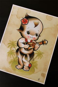 """The Hawaiian Kewpie 11""""x14"""" Tattoo Flash Print (Other sizes available) by Yukittenme on Etsy https://www.etsy.com/uk/listing/213514264/the-hawaiian-kewpie-11x14-tattoo-flash"""