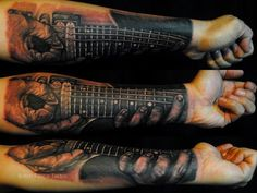 amazing guitar forearm sleeve tattoo for men