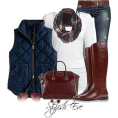 Winter outfits LOVE the red/brown colors with the navy vest