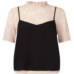 Miss Selfridge Lace Tee With a Cami found on Polyvore featuring nude, lacy camisole, lace camisole, lacy cami, miss selfridge and layering camisole