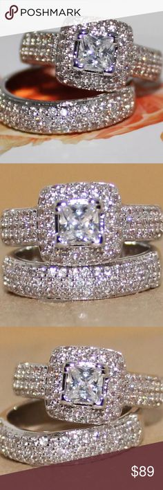 Diamond simulant band and ring Stunning diamond simulant ring set. This set is a must have! Total showstopper!!! New in package Jewelry Rings