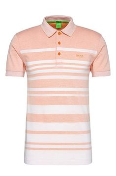 This narrow-cut BOSS Green men's polo shirt in soft jersey gets its fresh appearance from the lines in varying widths. A modern polo shirt that you can style with both shorts, chinos or denims: wear it with trainers to look sportily casual.