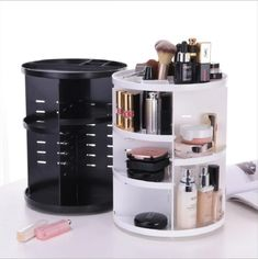 Big SALE New Fashion Rotating Makeup Organizer Box Brush Holder Jewelry Organizer Case Jewelry Makeup Cosmetic Storage Box Makeup Storage Cart, Cosmetic Storage, Box Storage, Beauty Storage Ideas, Storage Organizers, Cosmetic Display, Make Up Storage, Cosmetic Items, Bathroom Organization