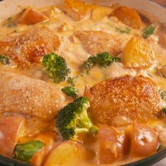 Parm Chicken & Potatoes A creamy one pot dish that we are absolutely here for.A creamy one pot dish that we are absolutely here for.